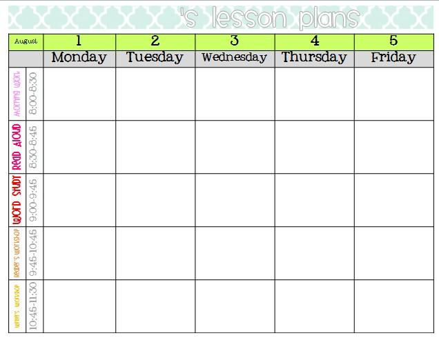 Awesome Printable Lesson Plan Calendar   Free Printable inside Lesson Calendar Template
