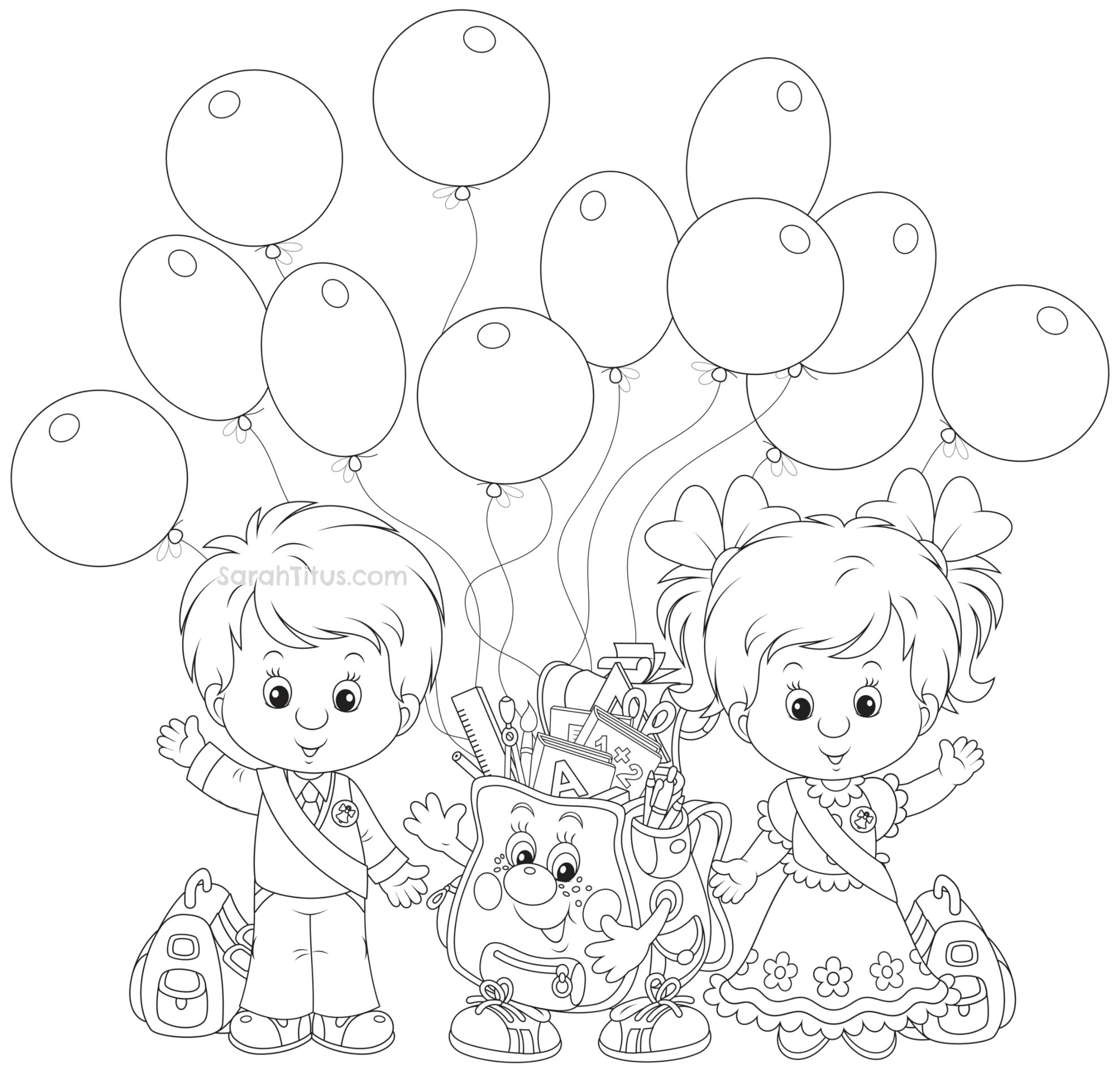 Back To School Coloring Pages  Sarah Titus | From within Sarah Titus Printables
