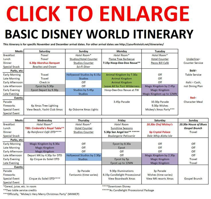 Basic 2019 December Disney World Itinerary | Disney World pertaining to Disneyland Itinerary Template