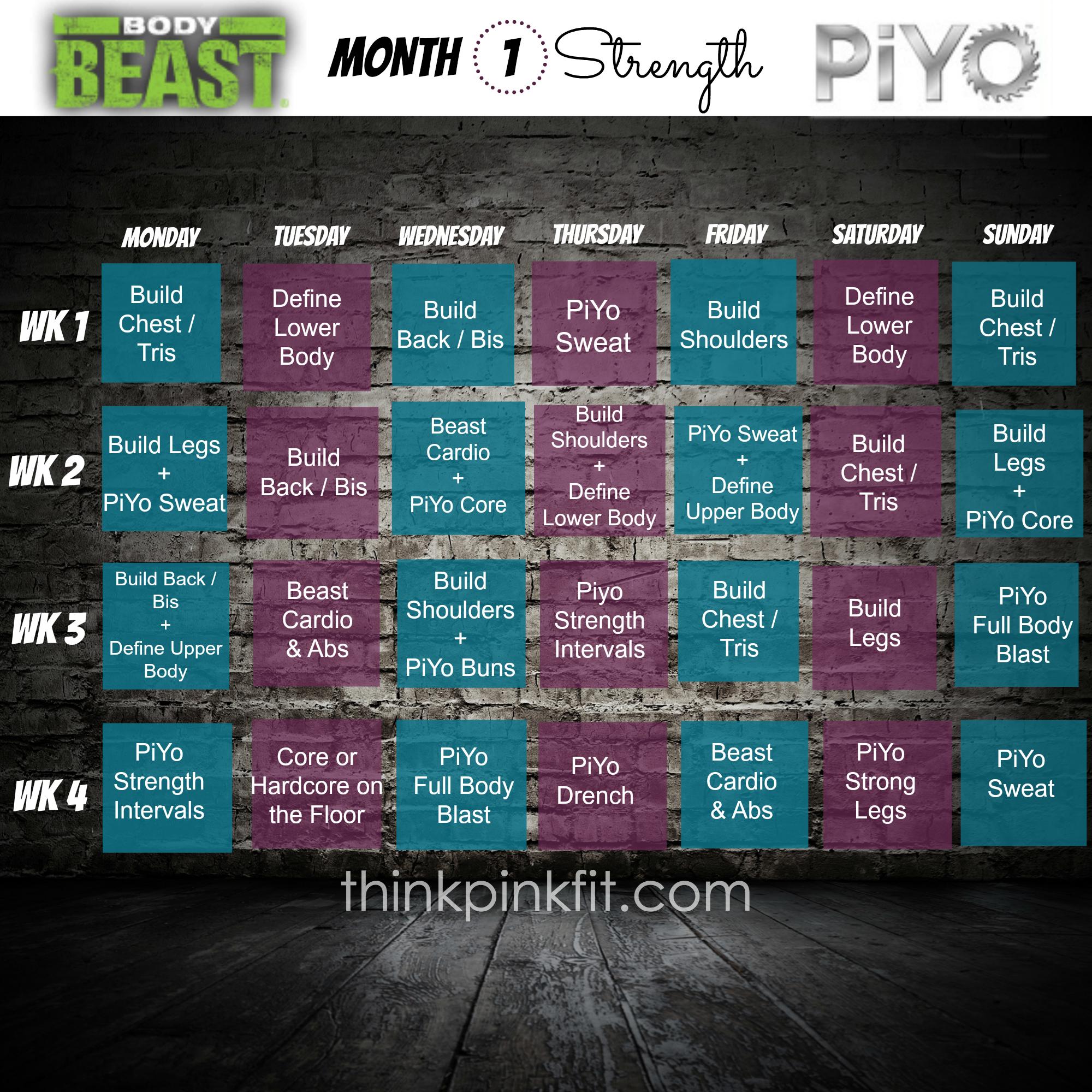 Beastpiyohybridmonth1 (2000×2000) | Body Beast for Piyo Calendar Printable