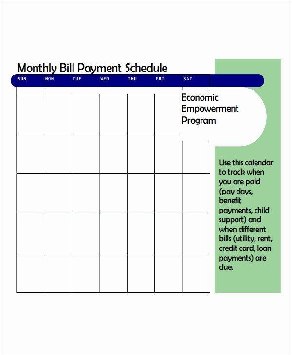 Bill Payment Schedule Template Elegant 6 Bill Payment inside Bill Payment Calendar Printable