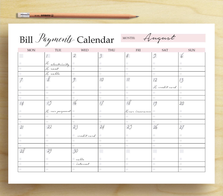 Bill Payments Calendar Bill Tracker Personal Finance inside Bill Payment Calendar Printable