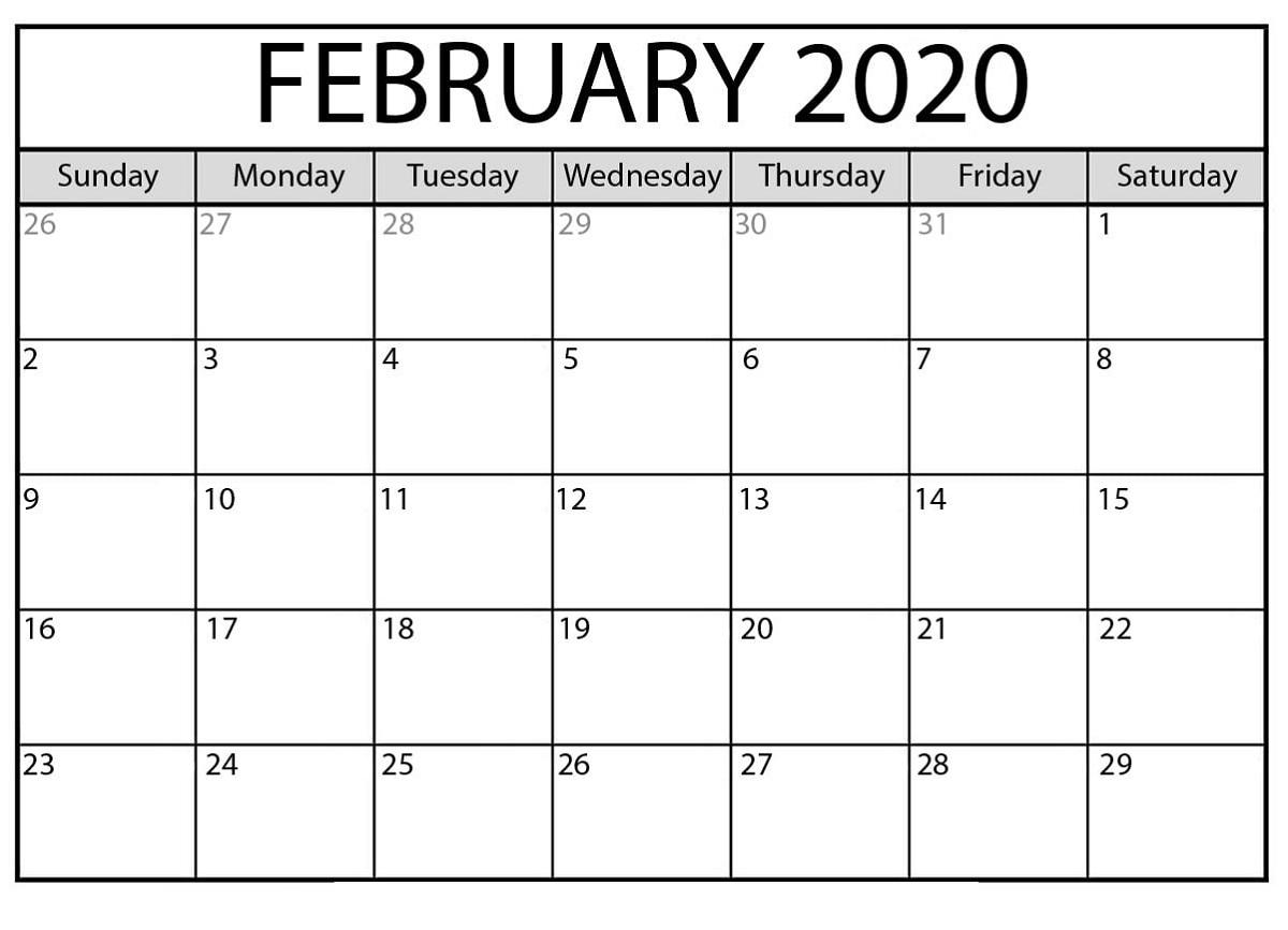 Blank Calendar 2020 Printable Monthly | Example Calendar inside Printable Blank Calendar Template