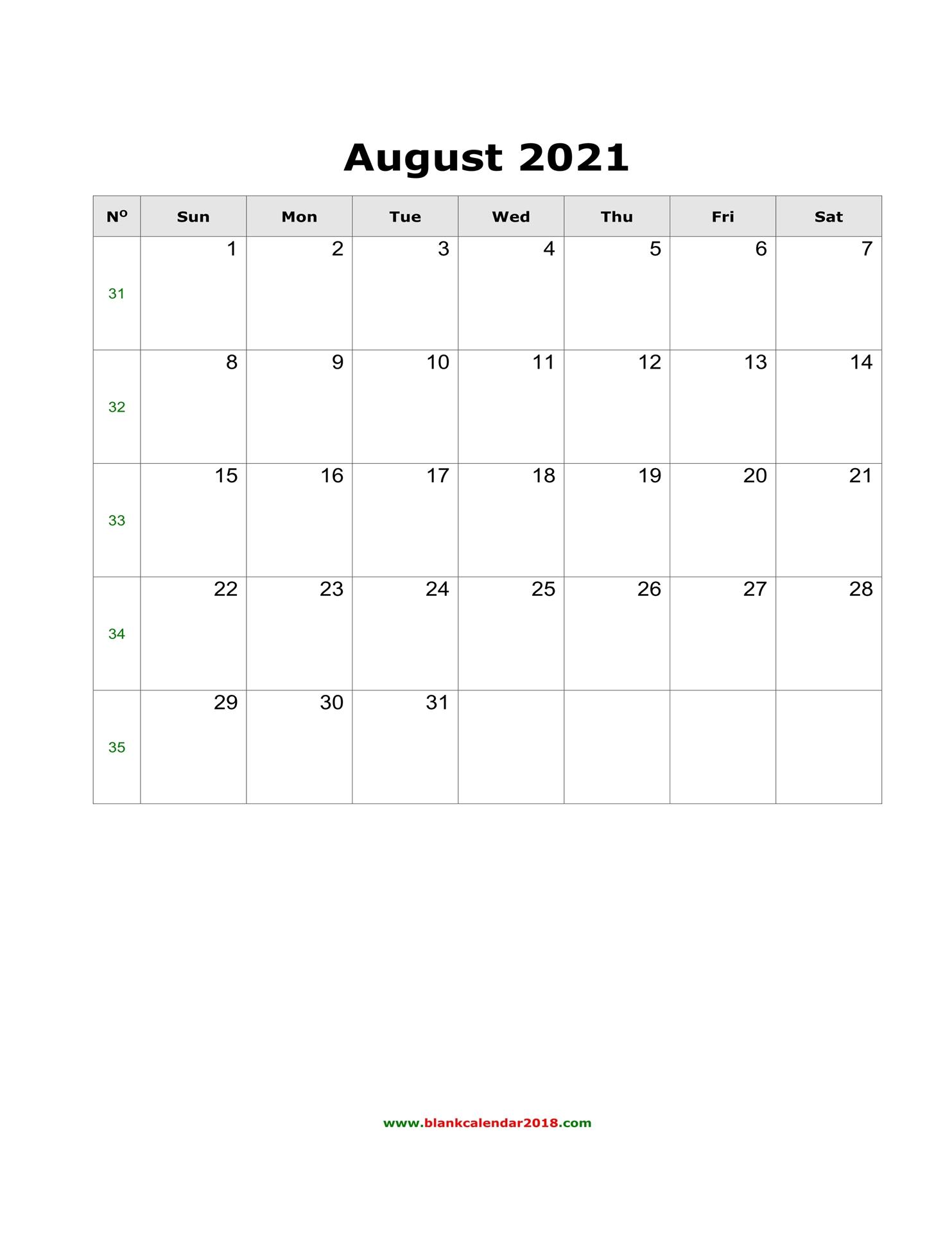 Blank Calendar For August 2021 inside Free Calendars 2021 Word Doc Printable August