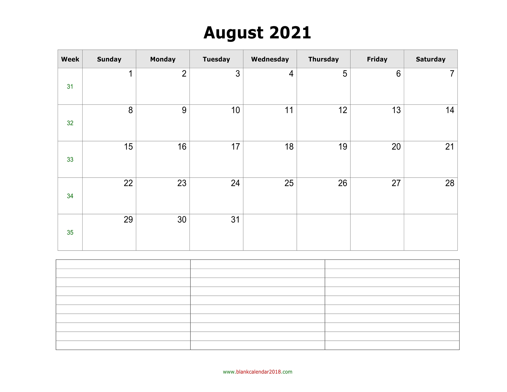 Blank Calendar For August 2021 with regard to Free Calendars 2021 Word Doc Printable August