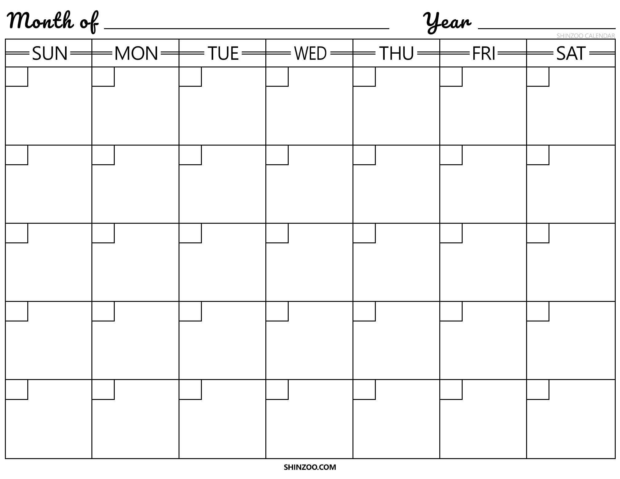 Blank Calendar Template 2019 2020 Printable regarding Fill In The Blank Calendar