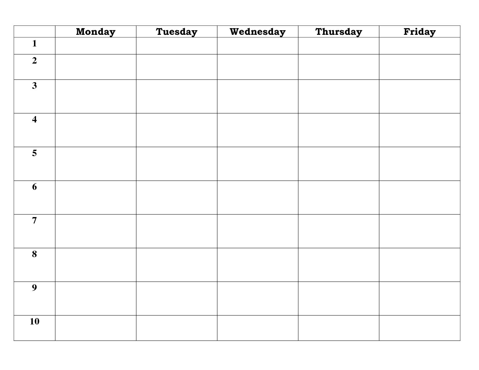 Blank Calendar Template 5 Day  Calendar Inspiration Design with 5 Day Calendar Template