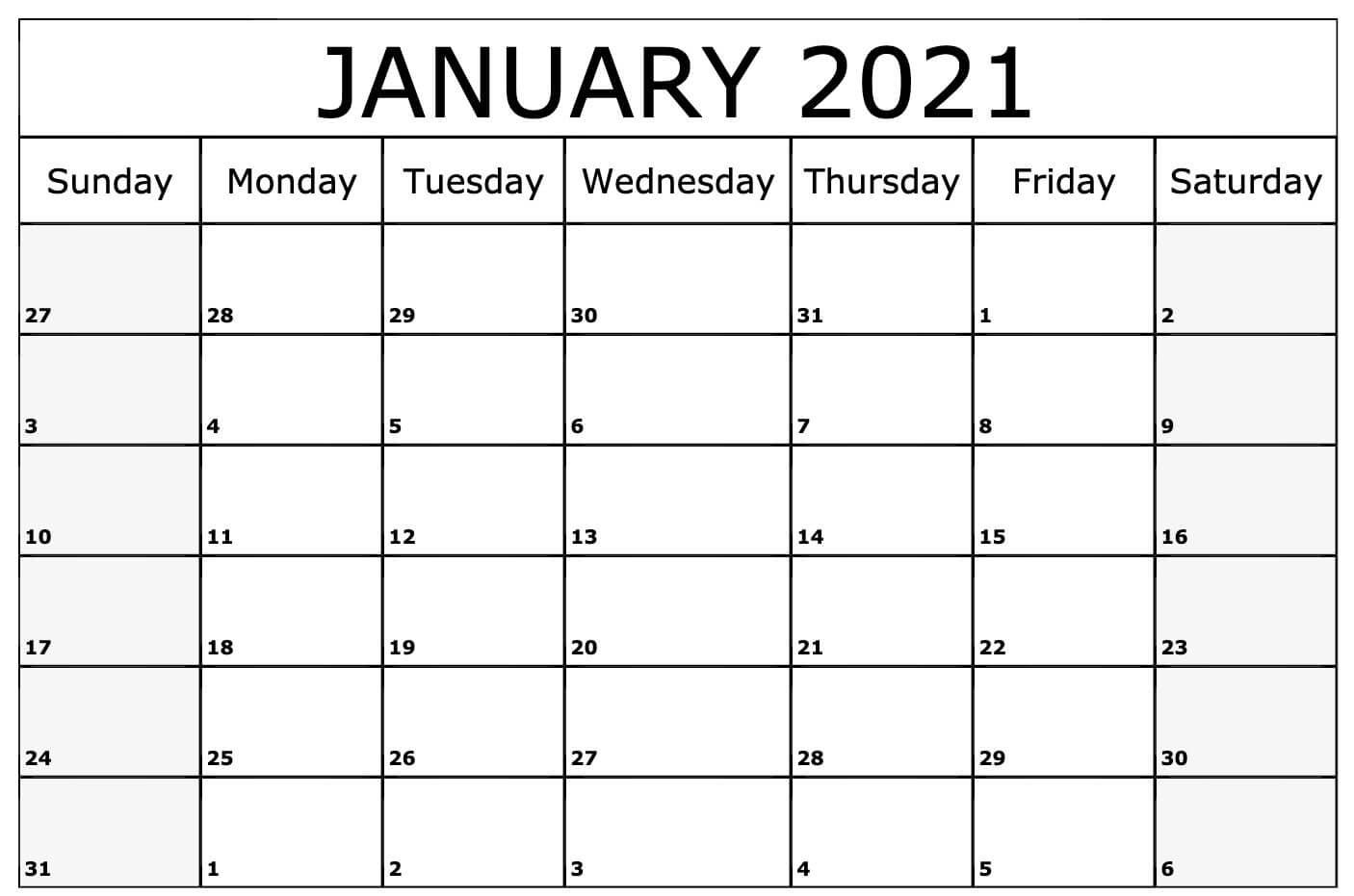 Blank January 2021 Calendar Pdf, Word, Excel Template for Desktop Calendars 2021 Free Printable