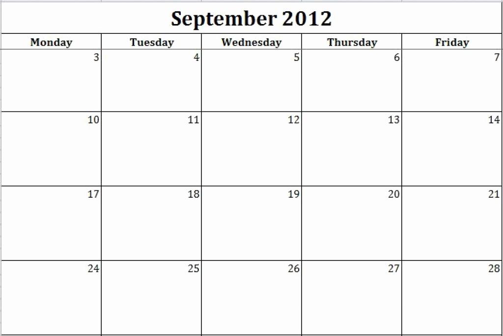 Blank Monday Through Friday Calendars Free Printable with Blank Monday Through Friday Calendar