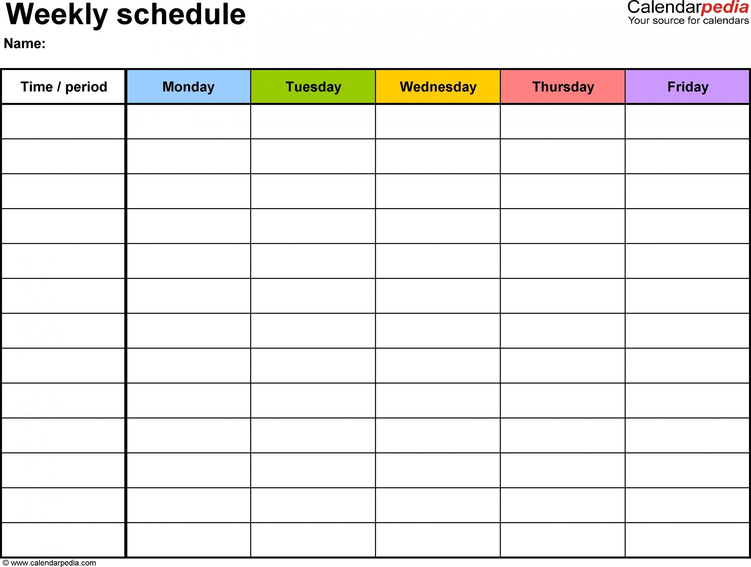 Blank Monday Through Friday Template | Ten Free Printable intended for Blank Monday Through Friday Calendar