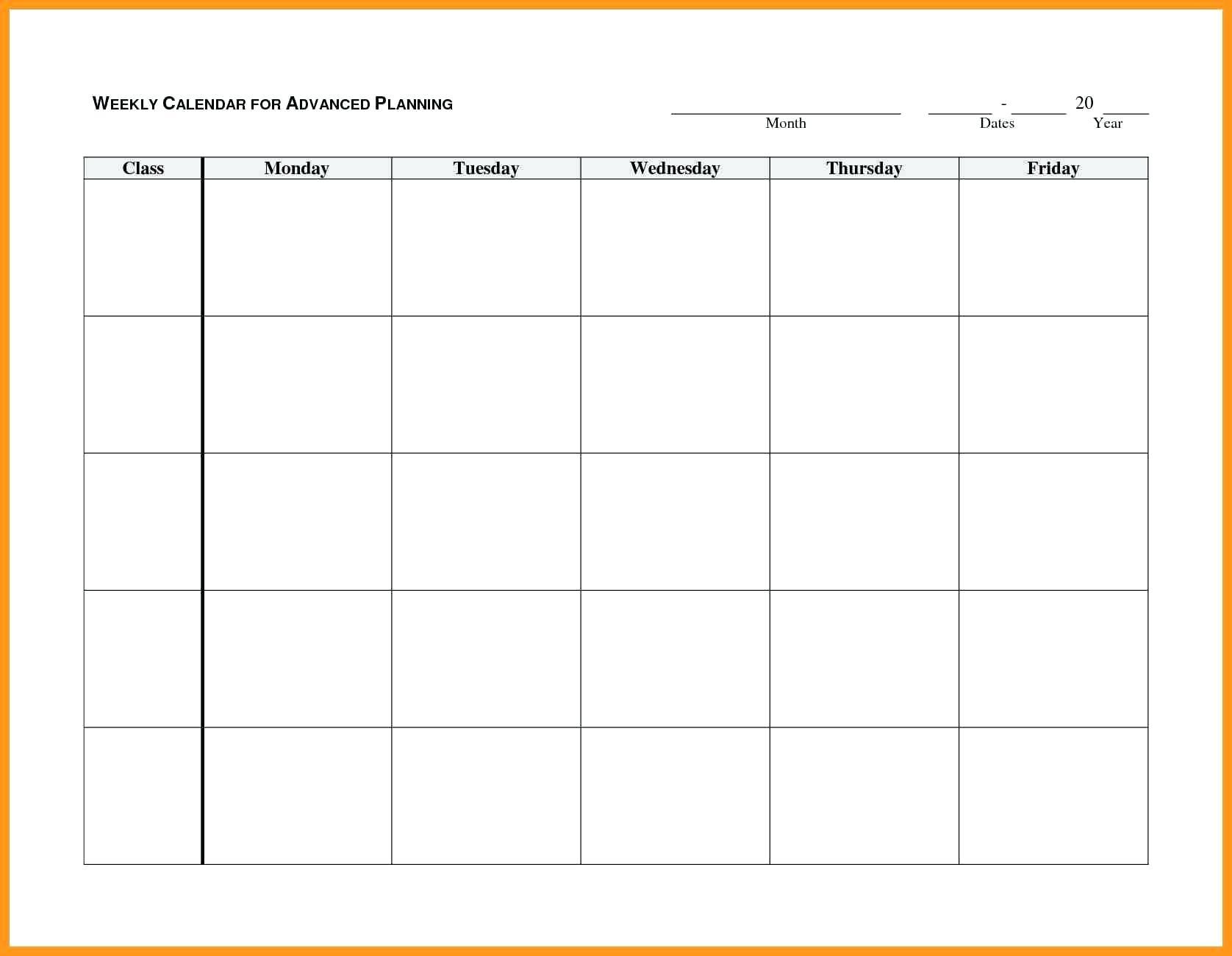 Blank Mondayfriday Calendar Templates   Example Calendar for Blank Calendar Monday Through Friday