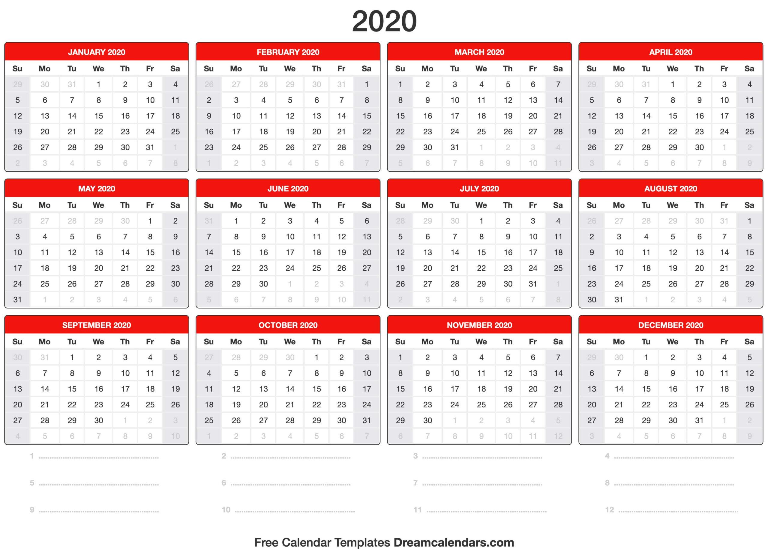 Blank Printable 2020 (Yearly) Calendar On We Heart It within Printable Blank Calendar Template