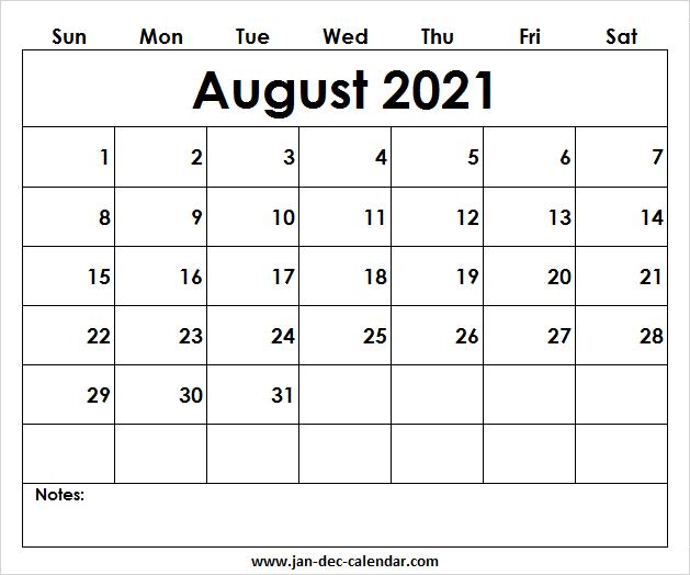 Blank Printable August Calendar 2021 Template Free intended for August 2021 Template Calendar