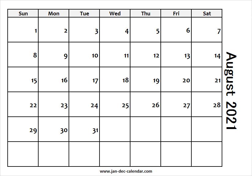 Blank Printable August Calendar 2021 Template Free pertaining to August 2021 Template Calendar