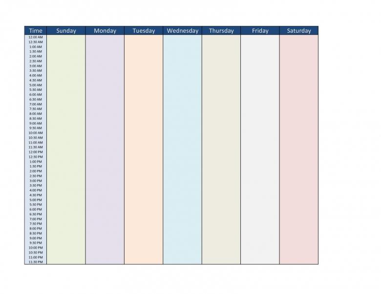 Blank Seven Day Calendar :Free Calendar Template inside 7 Day Planner Template
