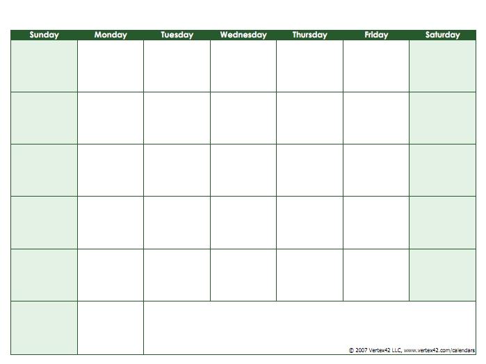 Blank Sunday Through Saturday Calendar Image   Calendar regarding Weekly Calendar Sunday To Saturday