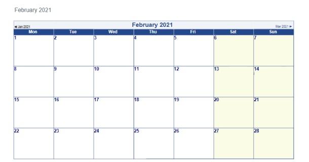 Blank Template February 2021 Calendar Word  2021 Calendar with 2021 Word Calendar Wincalendar