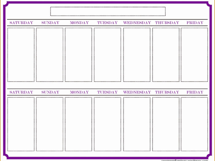 Blank Two Week Calendar  Example Calendar Printable throughout Two Week Calendar