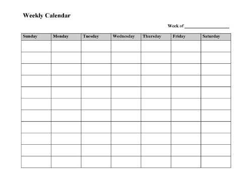 Blank Weekly Calendar Sunday Through Saturday Photo | Calendar Template 2020 pertaining to Sunday Thru Saturday Calendar