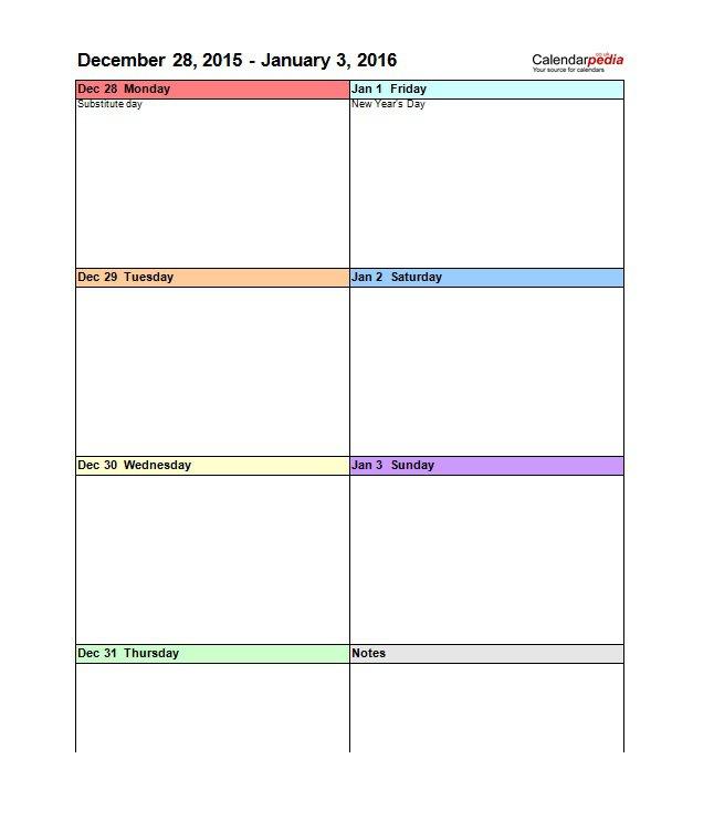 Blank Weekly Calendar Template pertaining to One Week Calendar Template Word
