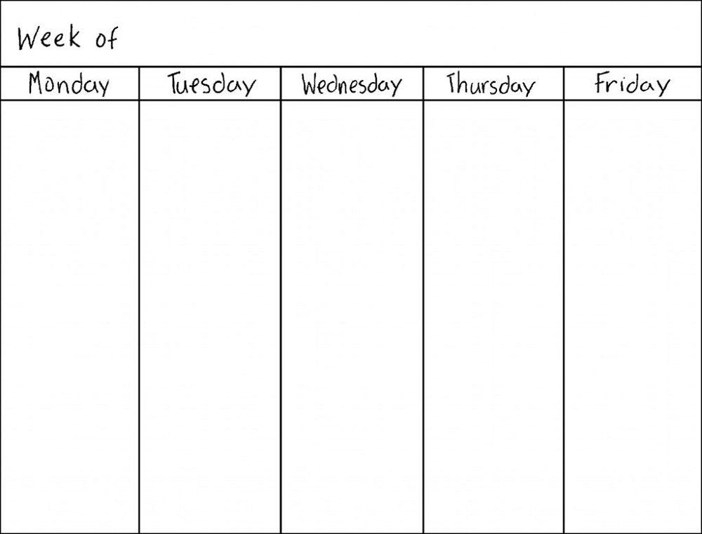 Blank Weekly Calendars Printable | Weekly Calendar with Blank Monday Through Friday Calendar