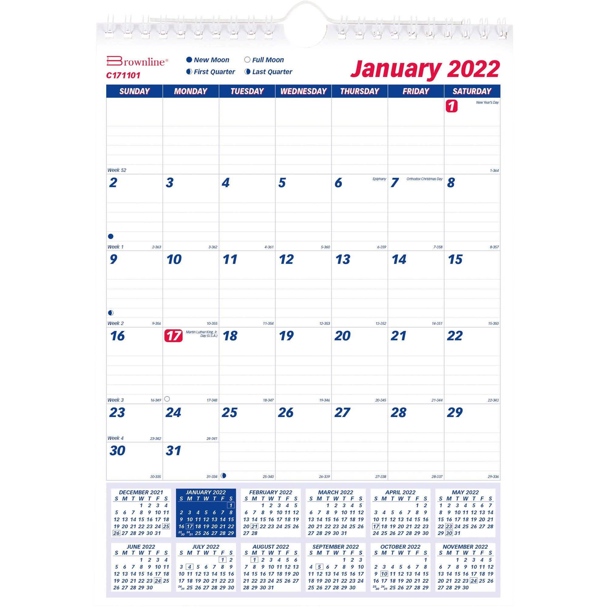 Brownline Ruled Block Wall Calendar  Professional with Conver Dec 8 2021 To Julian Date