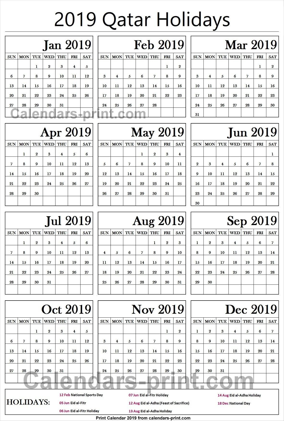Calendar 2019 Qatar :Free Calendar Template with American School Of Doha Calendar