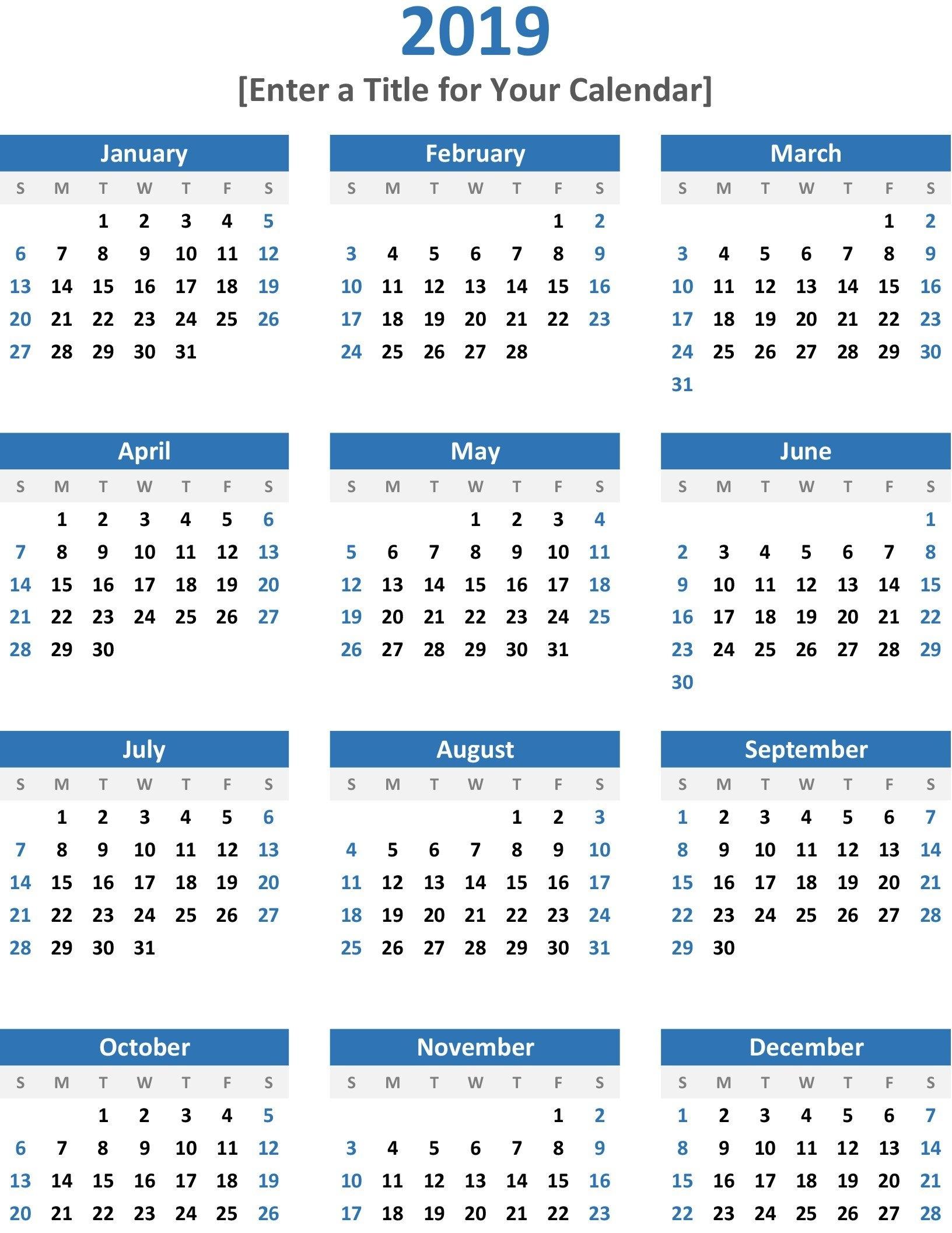 Calendar 2019 Year At A Glance :Free Calendar Template with Year At A Glance Calendar Template