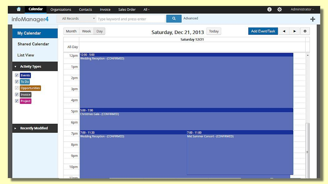 Calendar (Day View)  Allows Users To See Events, Tasks pertaining to Pto Schadle For Managme To View