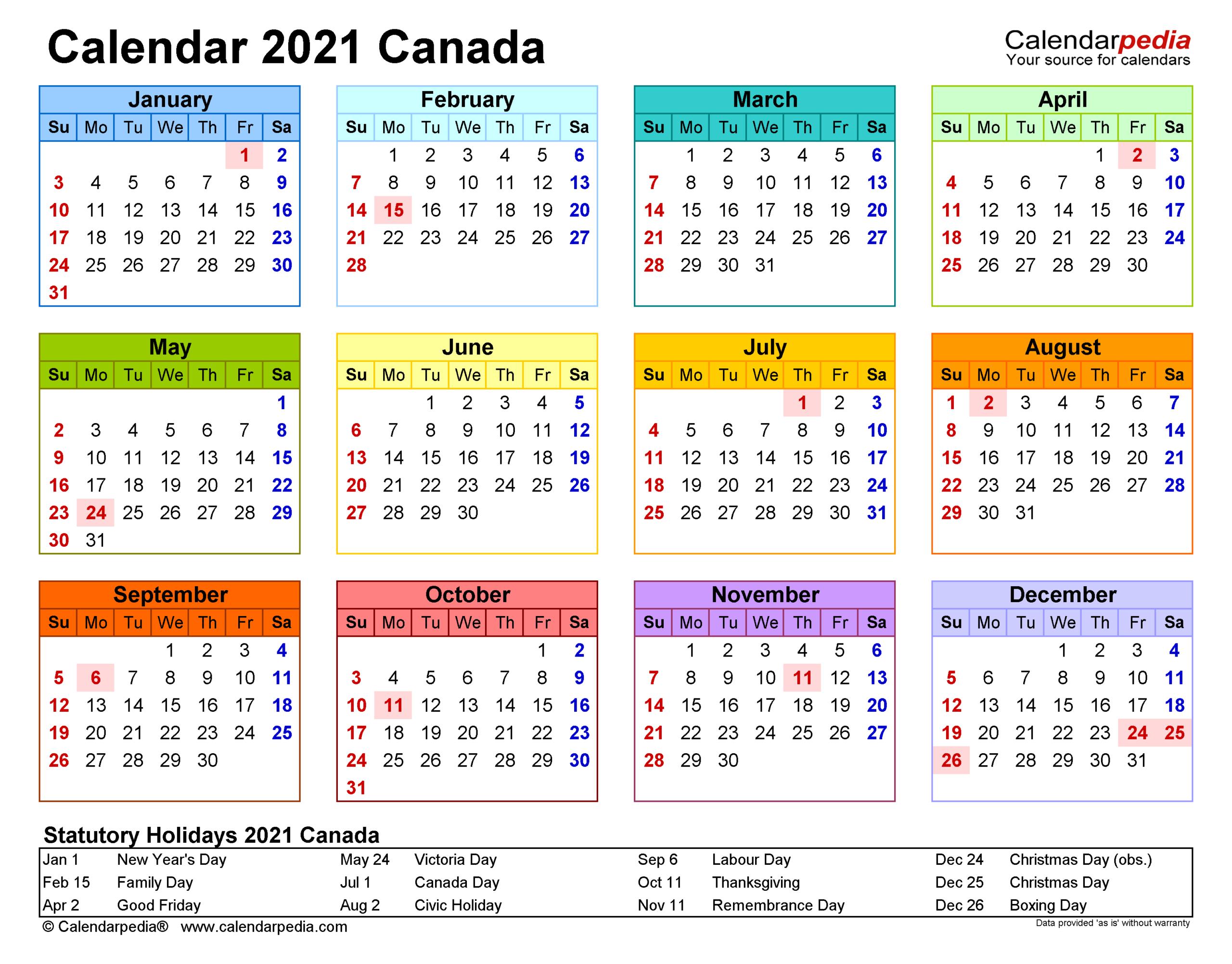 Calendar For 2021 With Canadian Holidays | 2021 Calendar intended for 2021 Calendar Excel Start Monday