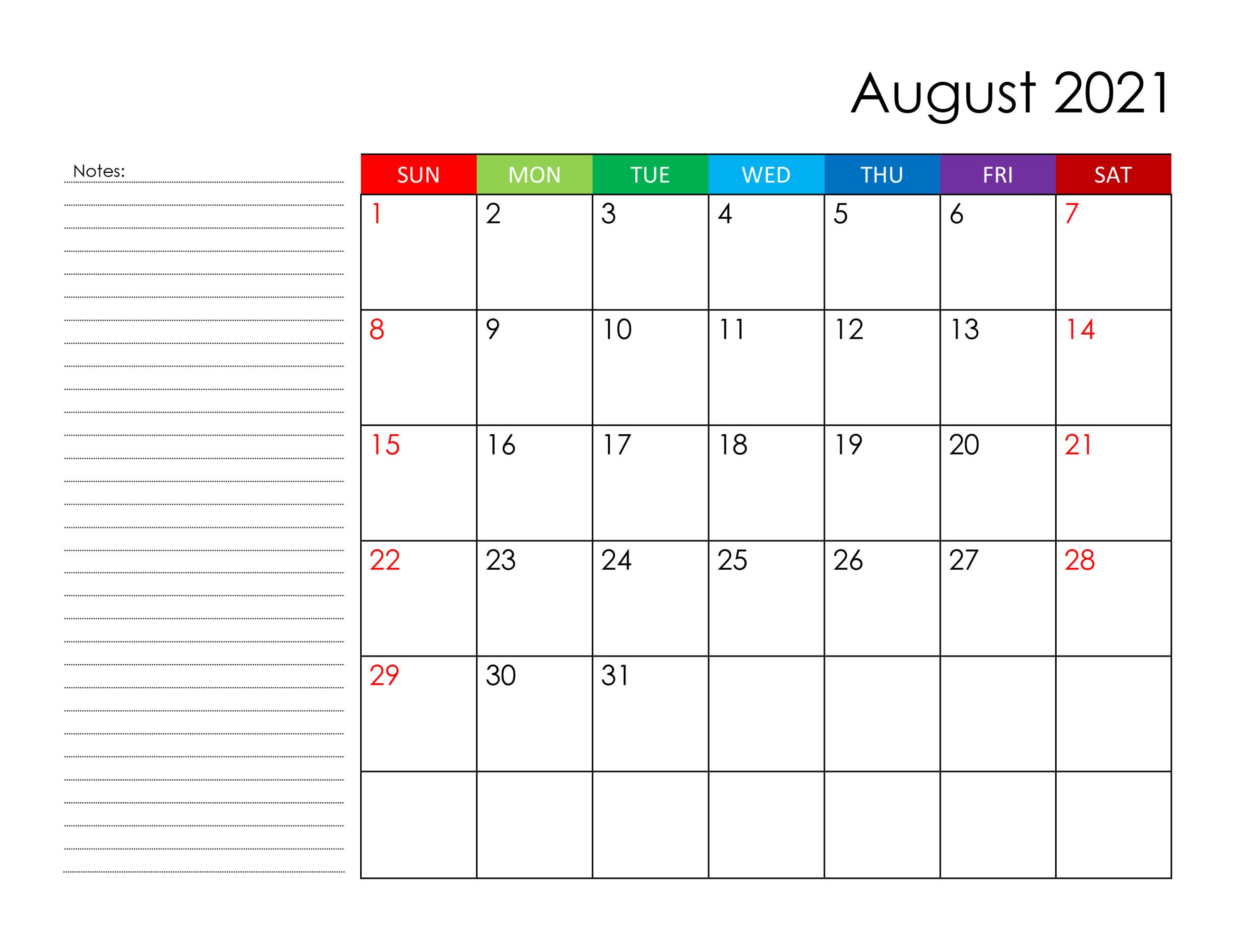 Calendar For August 2021  Freecalendar.su regarding Free Calendars 2021 Word Doc Printable August