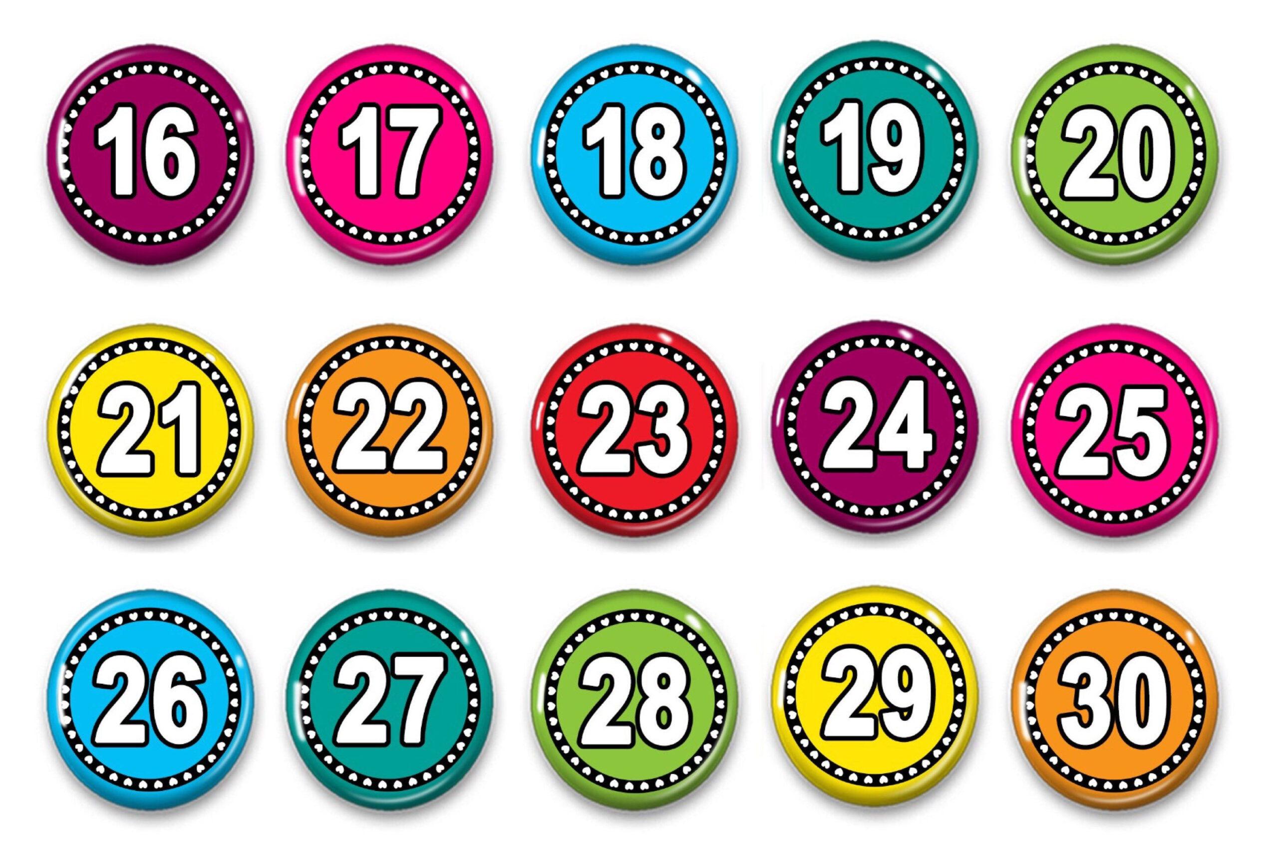 Calendar Numbers  Numbers 1  31  Attendance Numbers in Printable Numbers 1-31