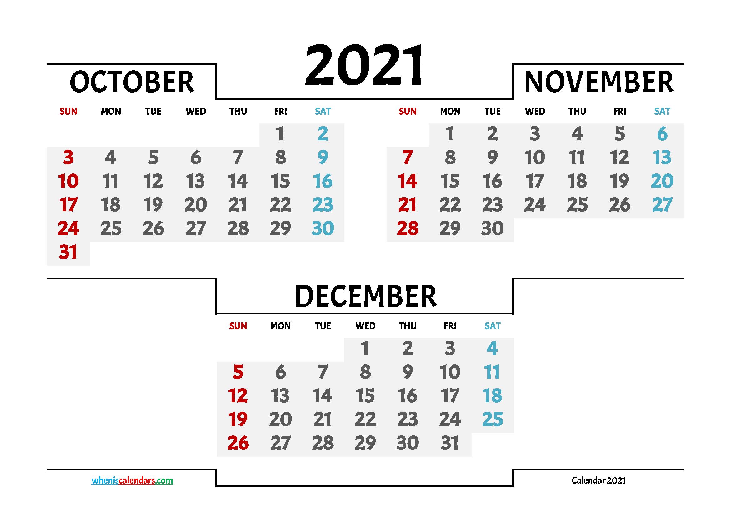 Calendar October November December 2021 Printable inside 3 Month Calendar 2021 Printable Free