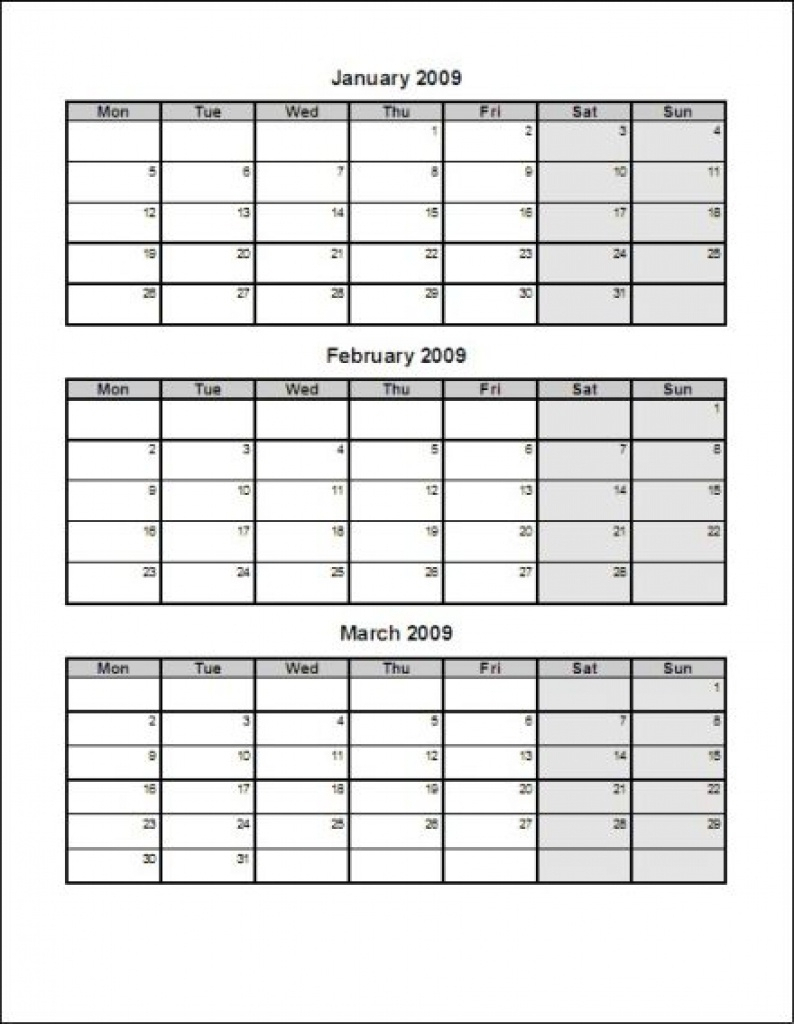 Calendar Template 3 Months Per Page Time And Date with Printable Three Month Calendar