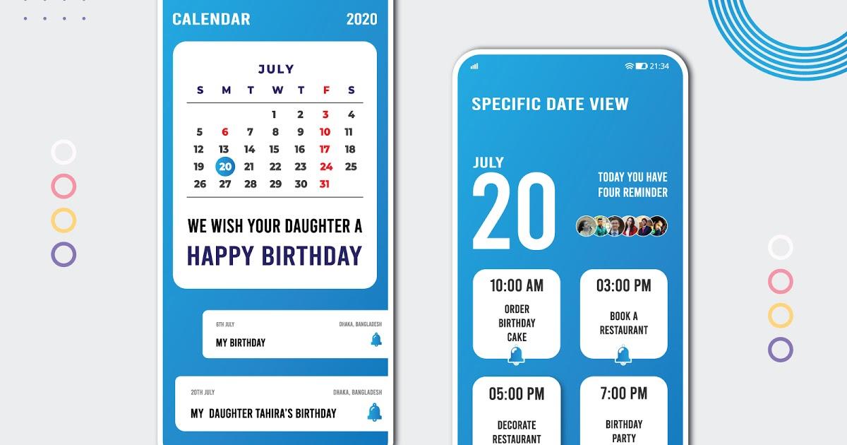 Calendar Ui   Mobile And Website Ui Kits Free Download inside Adobe Xd Calendar