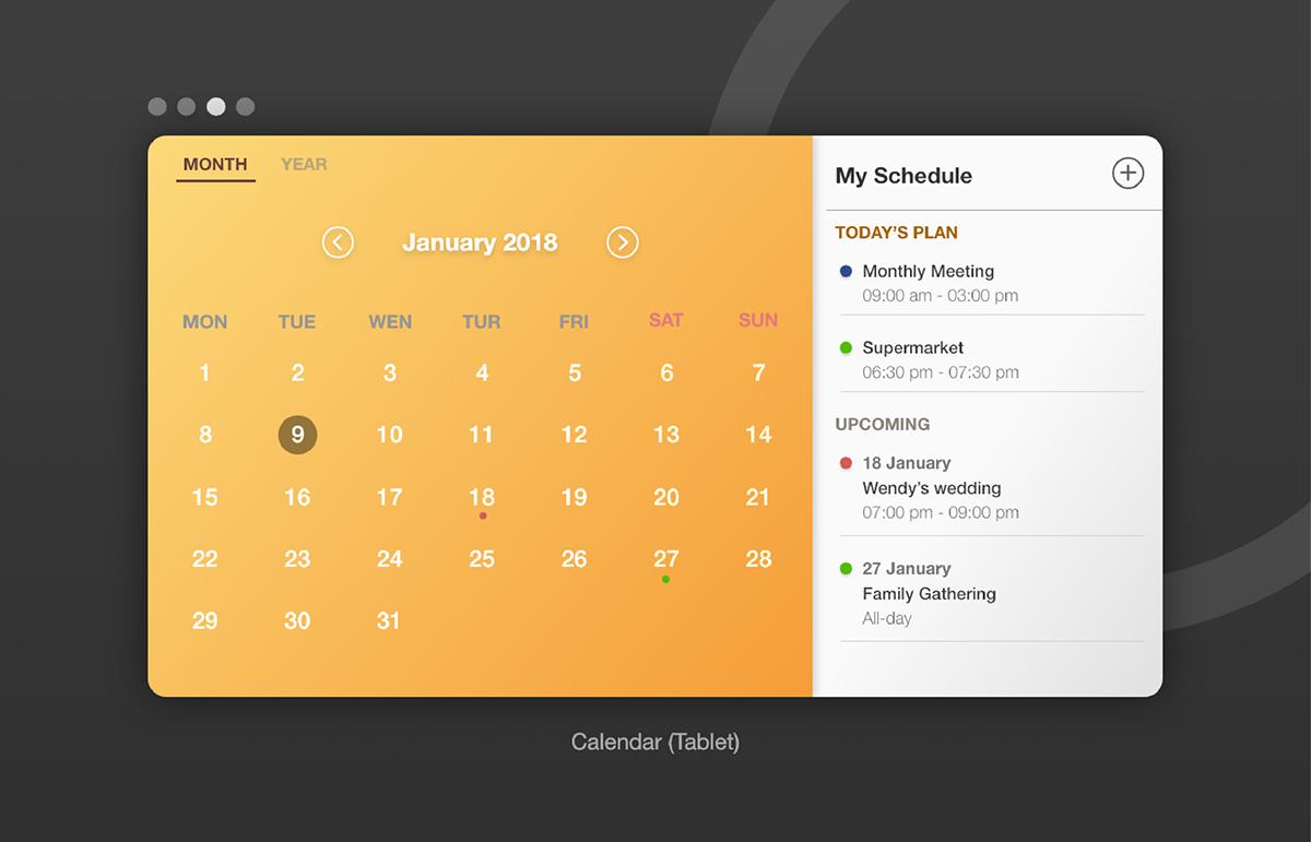 'Calendar Ui Models In Adobe Xd' By Jasper Yeh On Behance throughout Adobe Xd Calendar