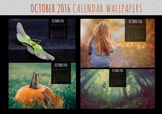 Calendar Wallpapers: Free October 2016 Desktop Backgrounds intended for Outlook Calendar Wallpaper
