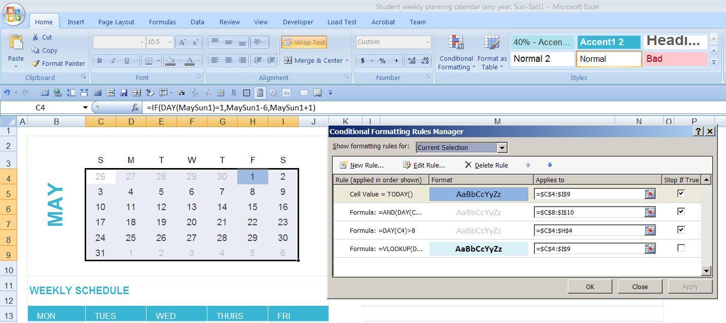 Calendar Year Excel Formula | Calendar Printables Free Templates with regard to Calendar In Excel Template
