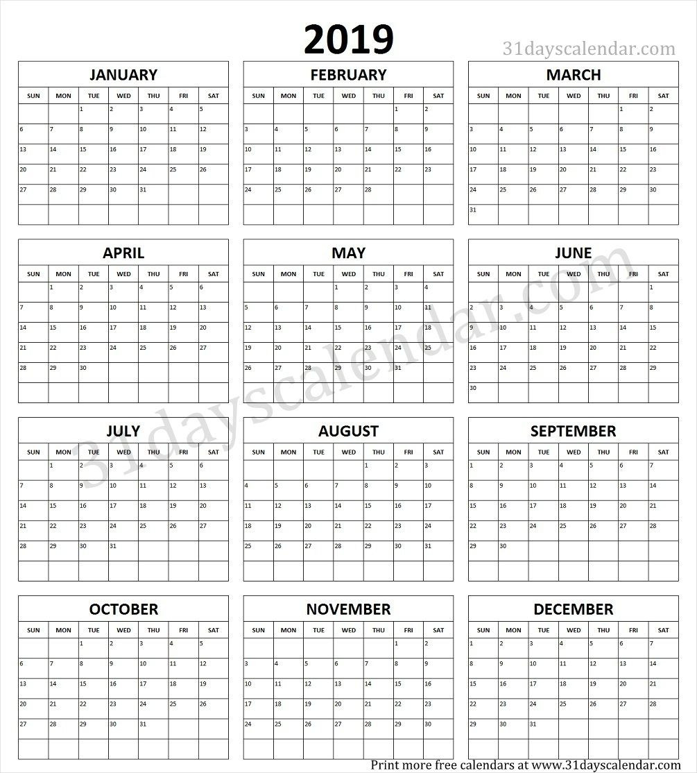 Calendar Yearly Printable inside Printable Blank Calendar Template