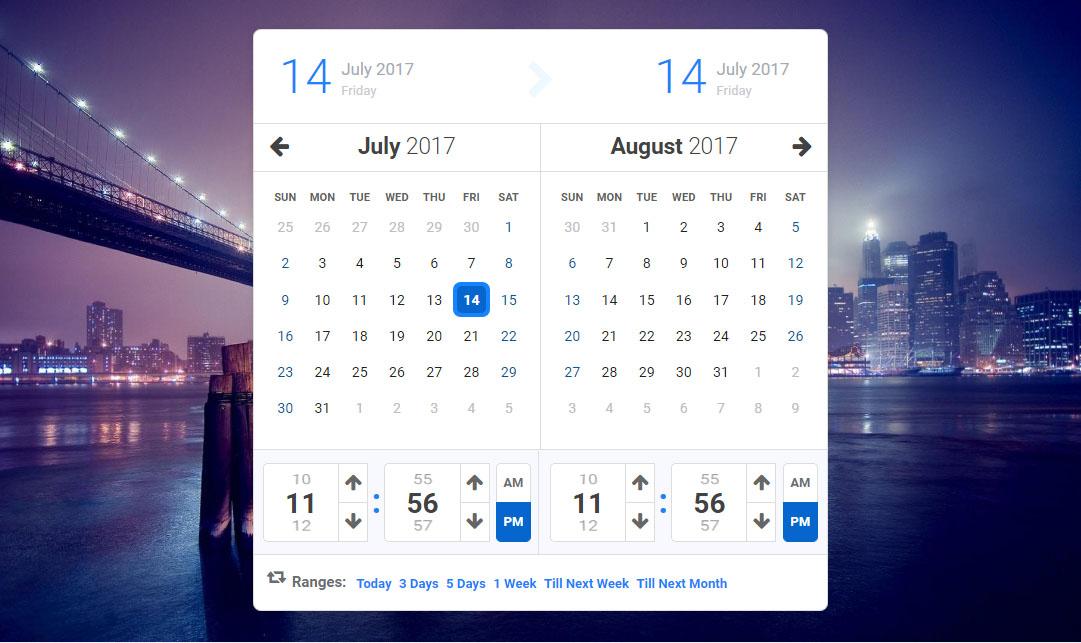 Calentim Jquery Date Time Range Picker within Qualtrics Date Range Picker