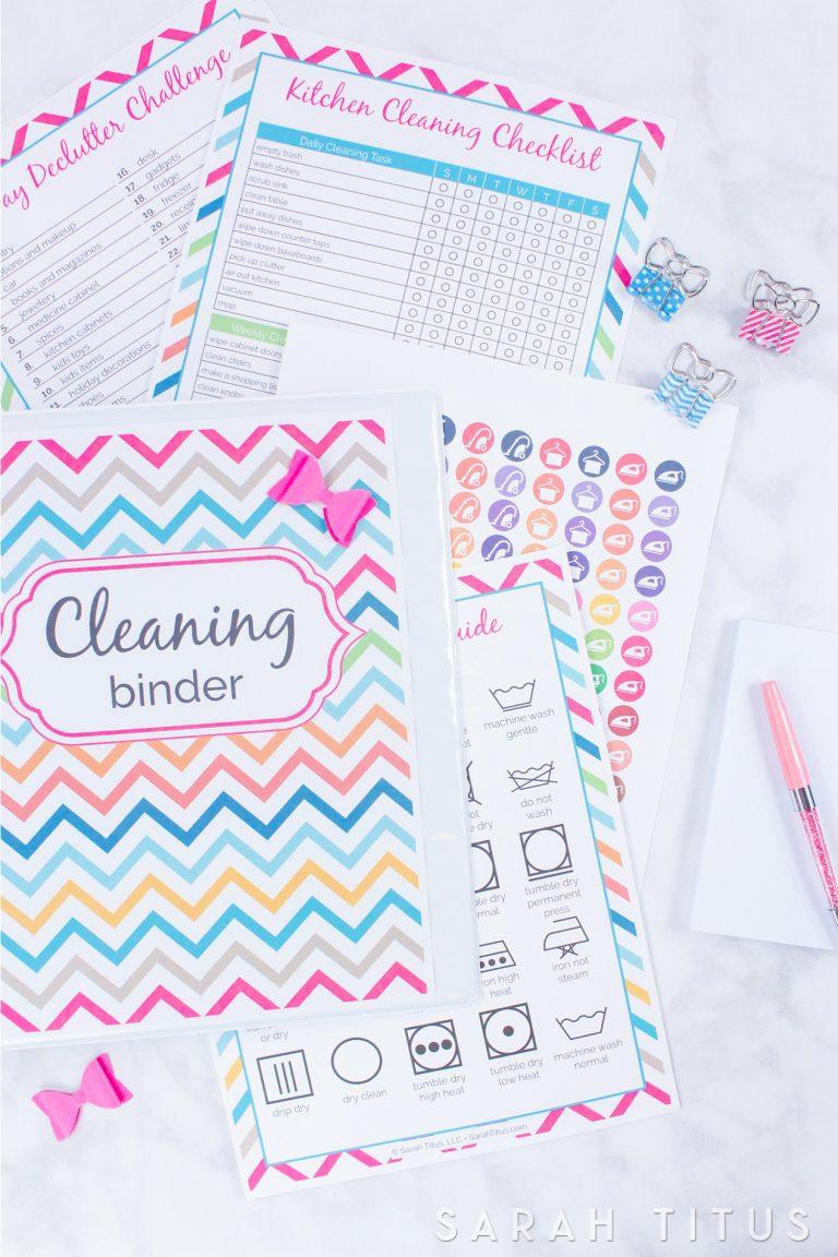 Cleaning Binder Printables  Sarah Titus | From Homeless with Sarah Titus Printables