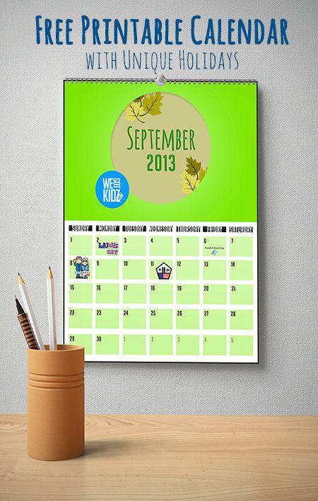 Colorful September 2013 Calendar With Unique Holidays inside Odd Holidays In September