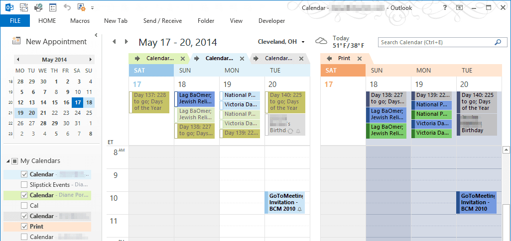 Combine And Print Multiple Outlook Calendars with regard to Print Yearly Calendar Outlook