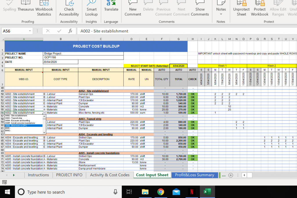 Construction Budget Excel Template  Cost Control Template with Calendar Control Excel