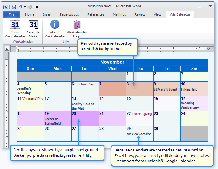 Create A Period & Fertility Calendar In Word Or Excel intended for How To Export Google Calendar To Excel