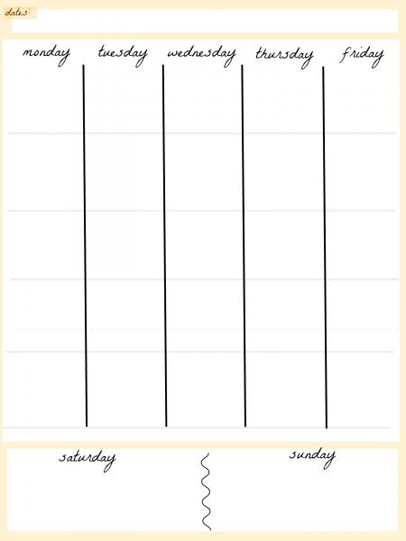 Day 5 Week Blank Calendar Template Printable | Printable with Blank 5 Day Calendar