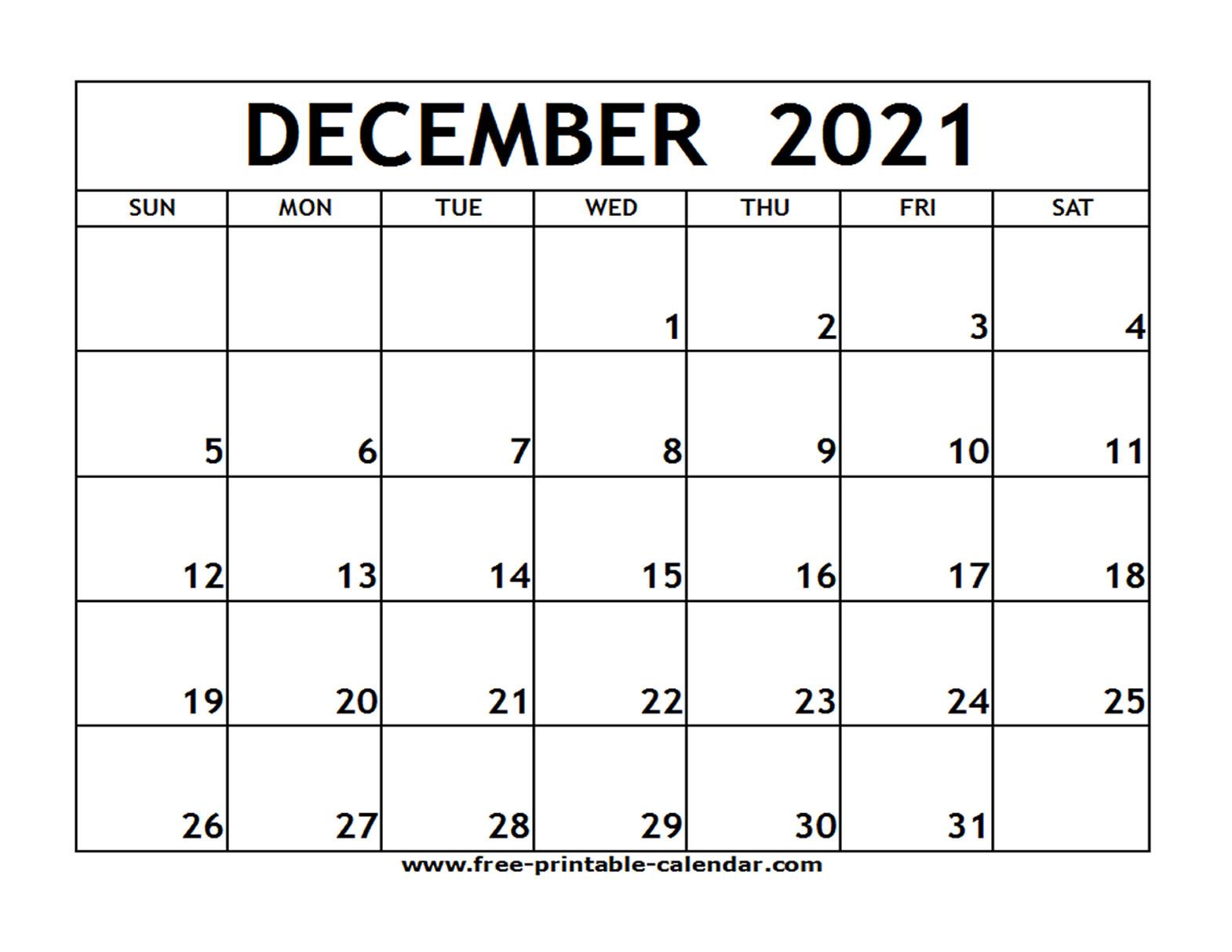 Dec 2021 Printable Calendar   Free Printable Calendar within 3 Month Blank Printable Calendar 2021
