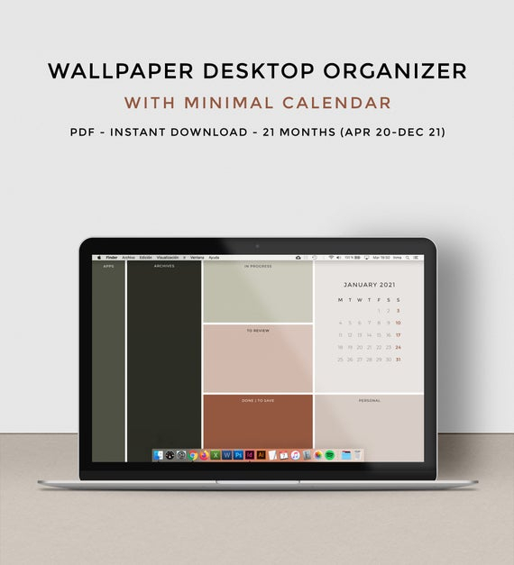 Desktop Wallpaper Organizer With 2020 2021 Calendar | Etsy with Calendar Maker For Mac
