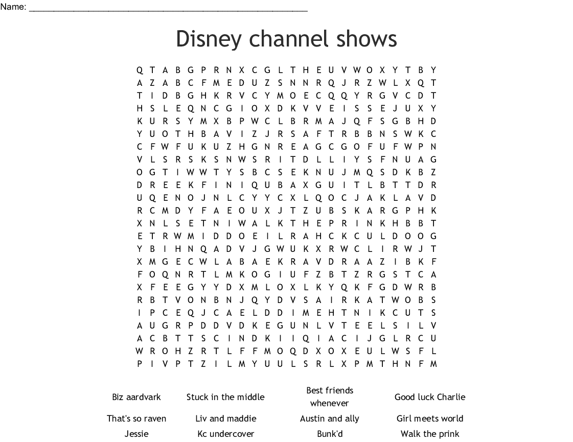 Disney Channel Shows Word Search  Wordmint within Disney World Word Search