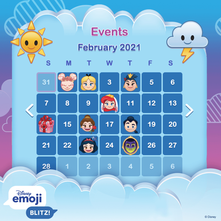 Disney Emoji Blitz Update: February 2021  Disney Emoji Blitz! regarding Emoji Blitz Google Calendar